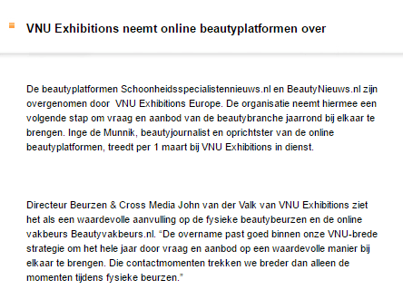 VNU neemt online beauty platformen over