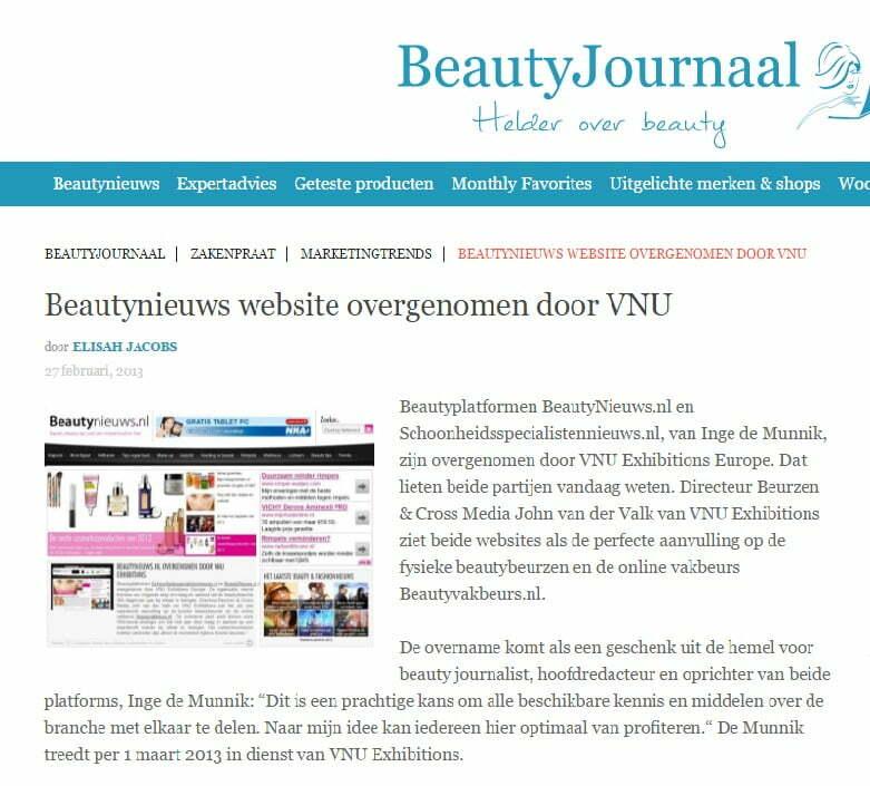beautynieuws.nl overgenomen door vnu